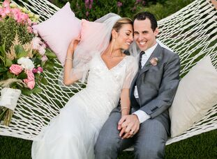 Maria Bueno (31 and director of Cheim & Read) and Brad Waywell (31 and director of DiDonna) planned a chic garden affair for their wedding at Brad's f