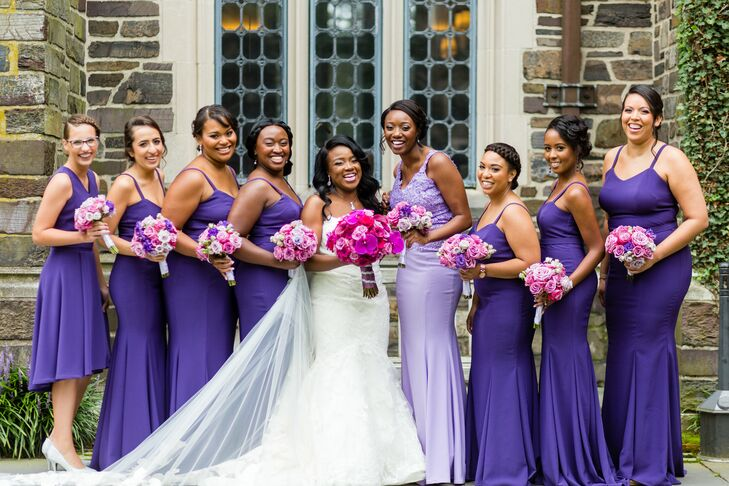 Elegant Purple Bridesmaid Dresses and Pink and Purple Bouquets