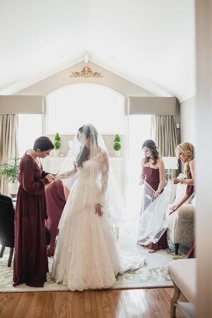 Two-Tier Lace Wedding Dress and Veil