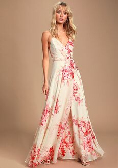 Lulus Elegantly Inclined Cream and Coral Floral Print Wrap Maxi Dress V-Neck Bridesmaid Dress