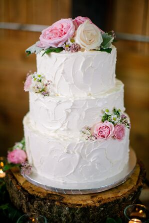 Pink Rose Buttercream Wedding Cake