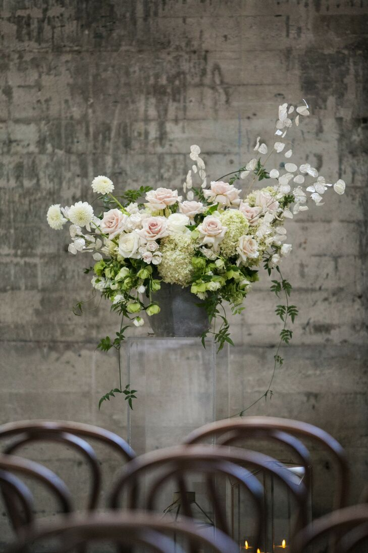 Elegant Floral Aisle Decoration in Industrial Wedding Venue