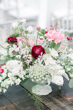Plum and Blush Table Arrangements