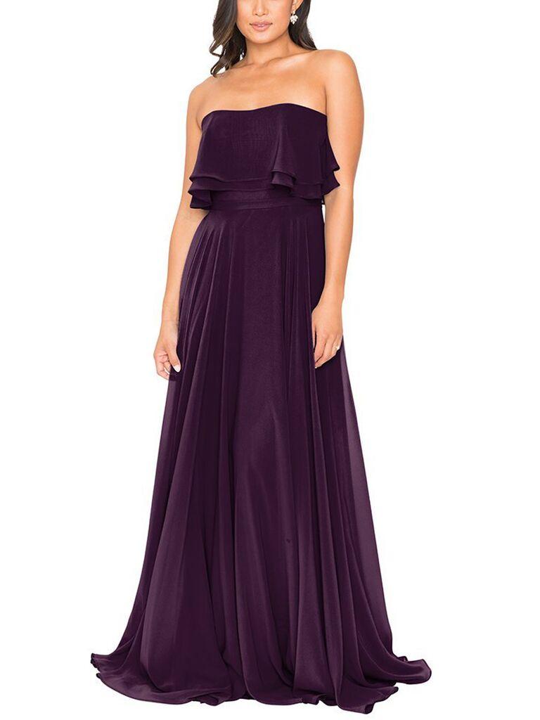 Eggplant strapless bridesmaid dress