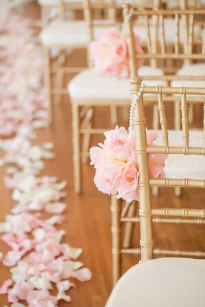 Blush Rose Pomander Ceremony Aisle Decor