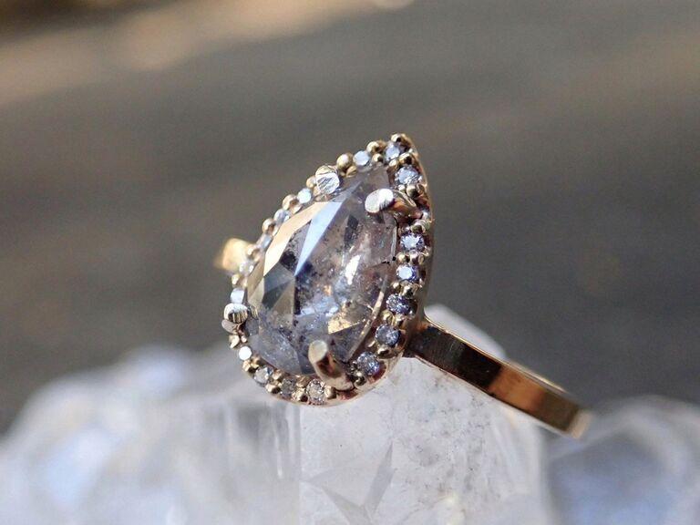MossNstone custom salt and pepper diamond halo setting