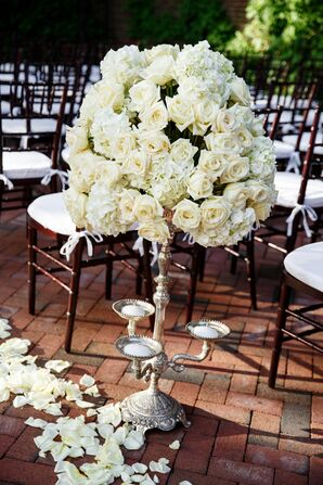 Silver Candelabra With White Roses and Hydrangeas