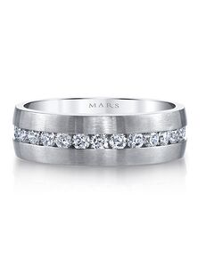 MARS Fine Jewelry MARS Jewelry G117 Men's Band White Gold Wedding Ring