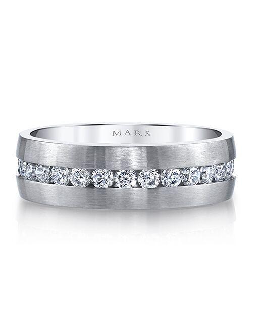 MARS Fine Jewelry MARS Jewelry G117 Men's Band White Gold Wedding Ring