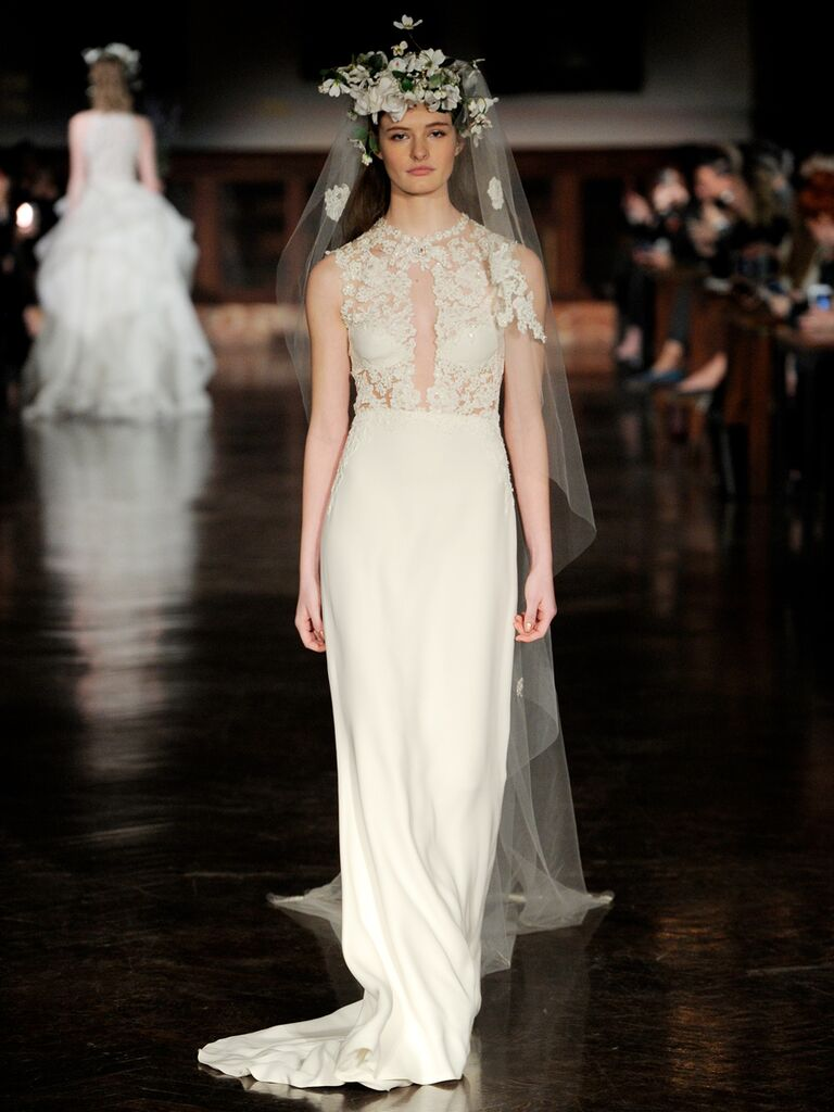 Reem Acra Spring 2019 wedding dress with asymmetrical silhouette and embellished bodice