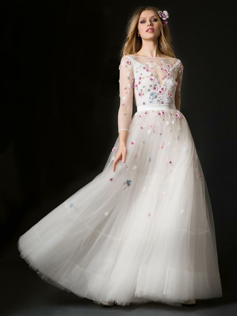 ec43ee3b6a21 Temperley Summer 2019 long sleeve wedding dress with colorful floral  appliques