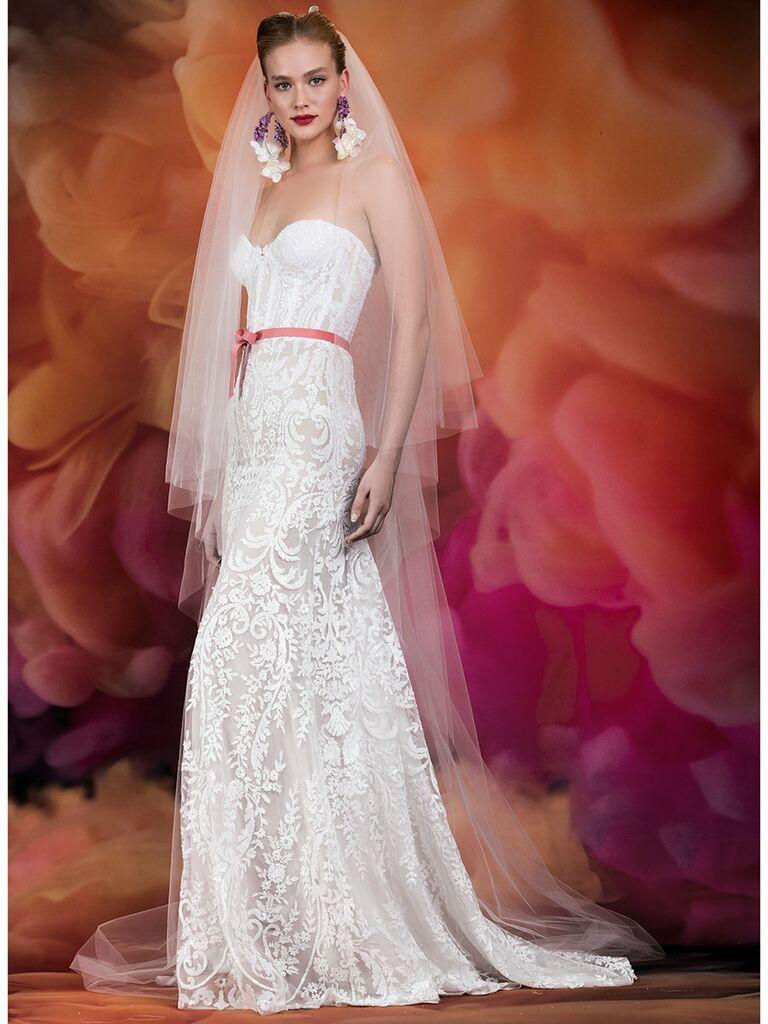 Naeem Khan wedding dress strapless lace sweetheart