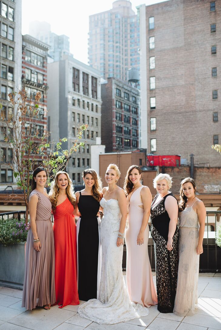 Though their wedding was an intimate event, Whitney and Ryan wanted the big-city affair to maintain a formal quality. They opted for a black-tie dress code and let their wedding party choose their own attire. Whitney's bridesmaids wore elegant floor-length gowns in shades of blush, black and coral.