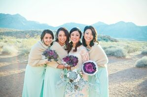 Purple and Mint Green Succulent Bouquets