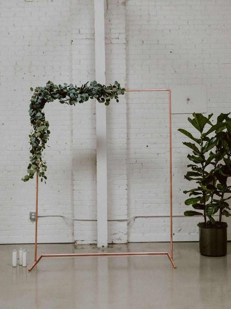 Backyard wedding ideas copper arch