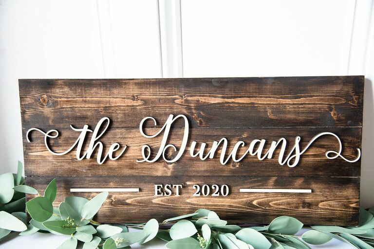 Personalized wooden family sign 20th anniversary gift