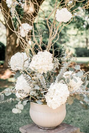 Tall Arrangement of Hydrangeas, Eucalyptus and Branches