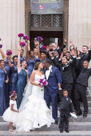 Glam Blue Sequin Bridesmaid Dresses