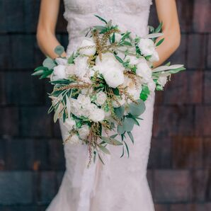 Eucalyptus and White Ranunculus Bouquet