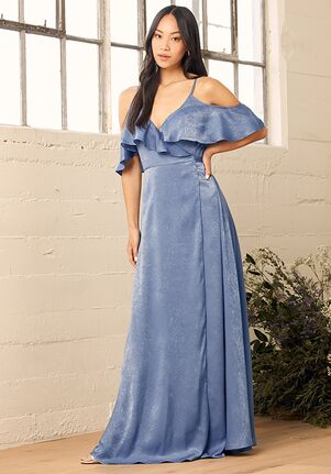 Lulus Moriah Vintage Blue Satin Wrap Maxi Dress V-Neck Bridesmaid Dress