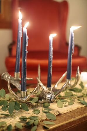 Silver Antler Centerpiece with Navy Candlesticks