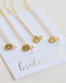 Dareth Colburn Engraved Initial Bridesmaid Jewelry Set (JS-1711-G-BR) Wedding Necklace photo