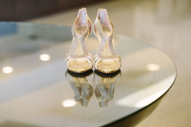 Ivory Open-Toed Shoes, Crystal Accents