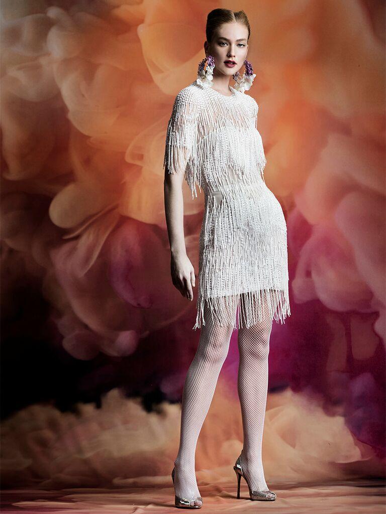 Naeem Khan wedding dress mini dress with long sleeves and fringe detail