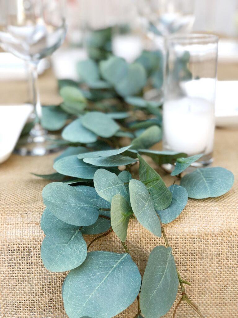 Faux eucalyptus garland affordable wedding centerpiece