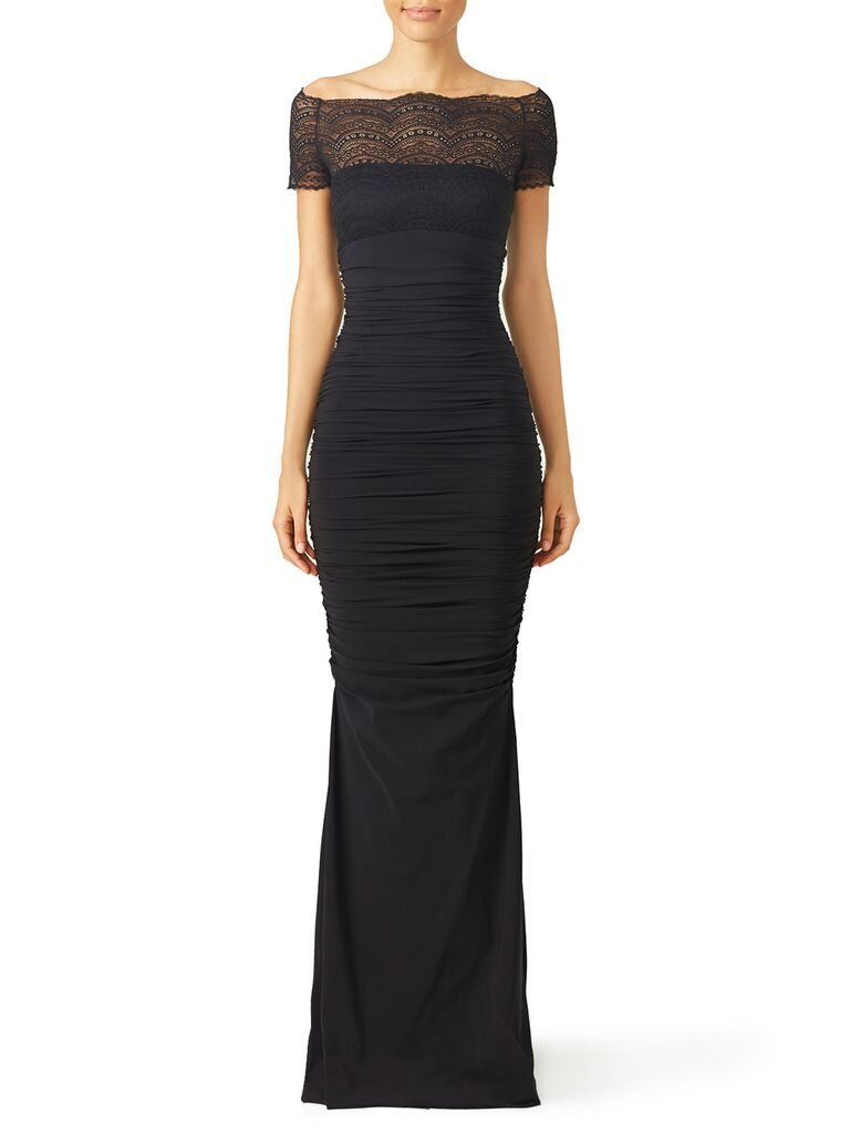 Fitted black dress with lace off-the-shoulder neckline