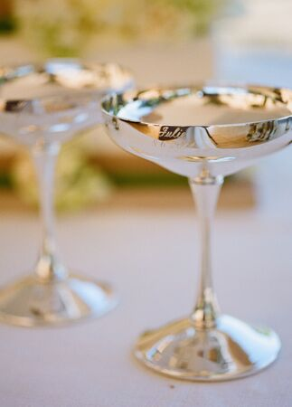 Silver Coupe Champagne Glasses   Meg Smith Photography   Blog.TheKnot.com