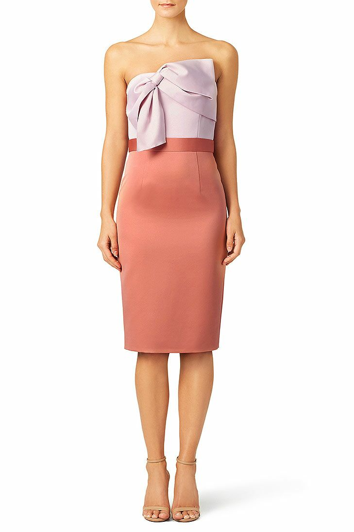 Pink Color Block Beach Wedding Guest Dress