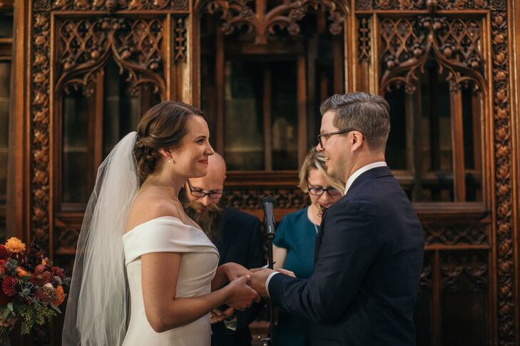 Bride and Groom Exchanging Vows at Church of the Holy Innocents in Hoboken, New Jersey