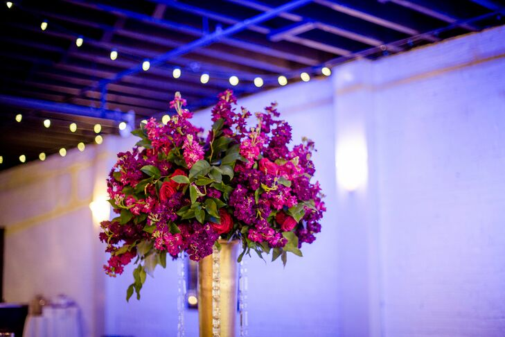 Tall Pink Centerpiece for Wedding at Terrace on Grand in Kansas City, Missouri