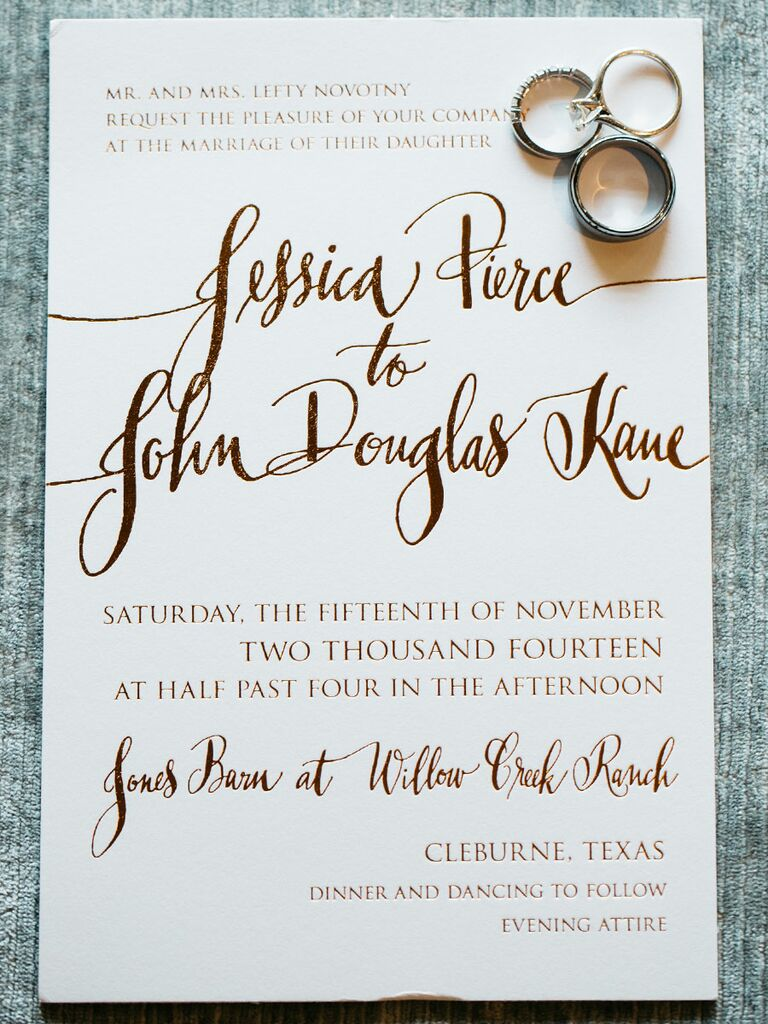 Printing techniques 101 gold foil invitations with a mix of whimsical and formal type set the tone stopboris Choice Image