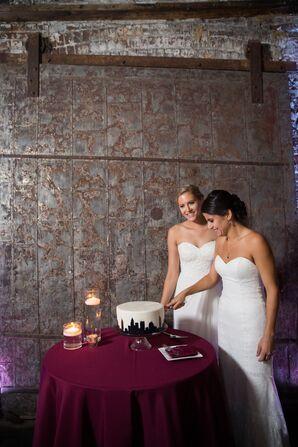 Brides Cutting Into Modern Single-Tier Cake