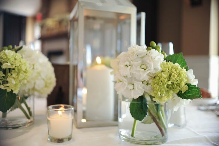 Jenna and Justin wanted to keep their reception as reflective of themselves as possible. Jenna knew she didn't want to incorporate a lot of flowers into the decor, so she used only small arrangements of white and green hydrangeas for the tables.