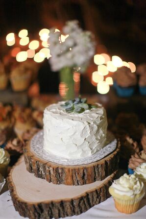 Rustic Wedding Cake Topped with a Succulent