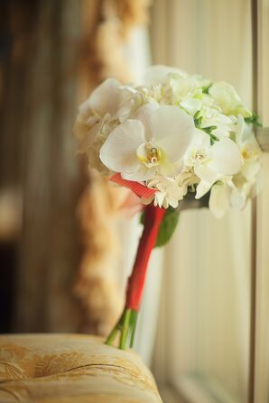 Red Ribbon-Wrapped White Orchid Bouquet