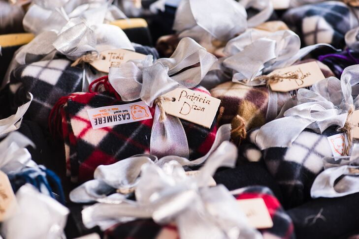 The scarves were plaid and striped with silver wired ribbon that Chantley's mother-in-law made into bows and topped off with wooden name tags.
