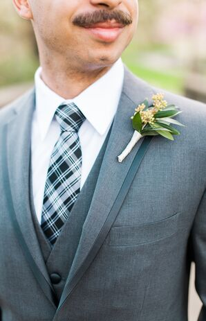 Black, White and Gray Checked Tie