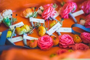 Pink and Orange Ranunculus Boutonnieres