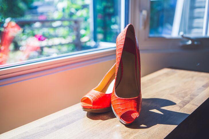 Orange Peep Toe Wedding Heels