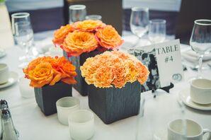 Orange Rose and Carnation Centerpieces
