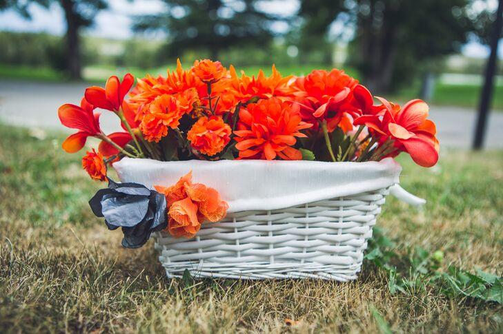 White Basket of Orange Flowers