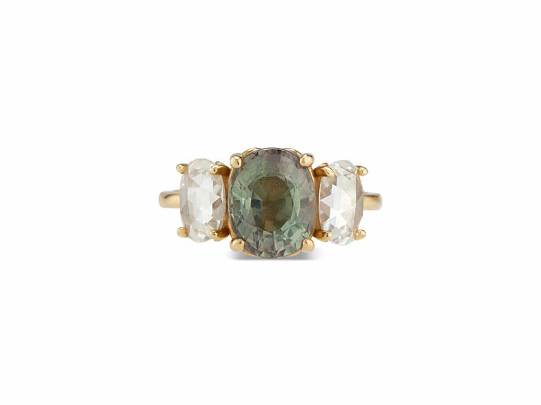 Olive green sapphire and rose cut diamond ring