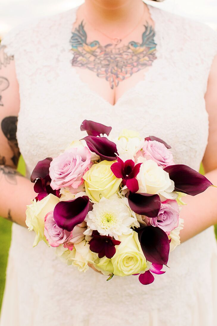 Plum, Pink, and Ivory Calla Lily and Rose Bouquet