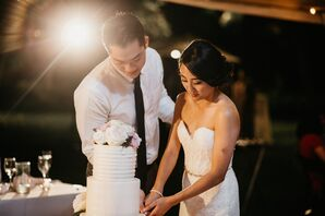 Cake Cutting at Modern Hawaiian Wedding