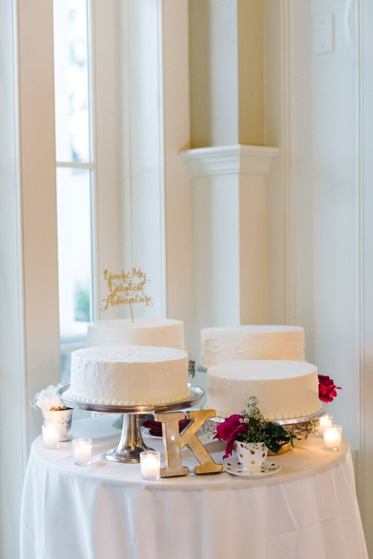 """For Sarah and Steve, the best part of their menu was the desserts. The couple served round, single-tier cakes in two flavors: chocolate cake with raspberry filling as well as vanilla cake with strawberry and vanilla custard. """"Aside from wedding cake we had s'mores roasting by the fire pits outdoors and mini treats passed on trays,"""" Sarah says says. """"There were milkshake shooters, root beer floats, mini cupcakes and seasonal creme brulee and cheesecake lollipops."""""""