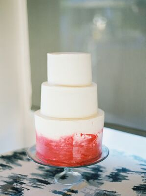 Modern Fondant Wedding Cake with Red Hand-Painted Design